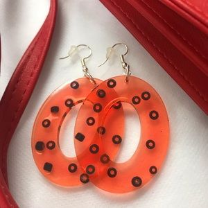 Orange Polka Dot Resin Earrings
